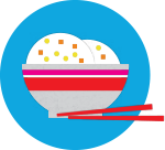 Icon: Bowl of rice with chopsticks